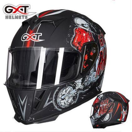 GXT motosiklet kask erkekler ve kadınlar tam kapak motosiklet tam kask kış sıcak anti-sis kişilik serin çift lens dört mevsim