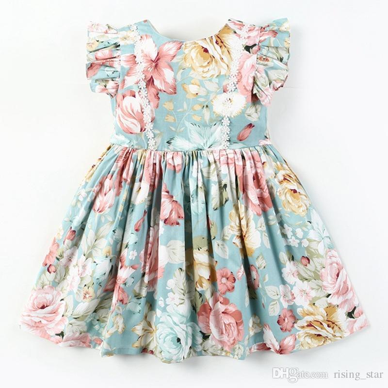 Fille Enfants Vêtements Nouveau Vert d'été sans manches Fleur d'impression avec dentelle design enfants bébé coton de haute qualité robe princesse