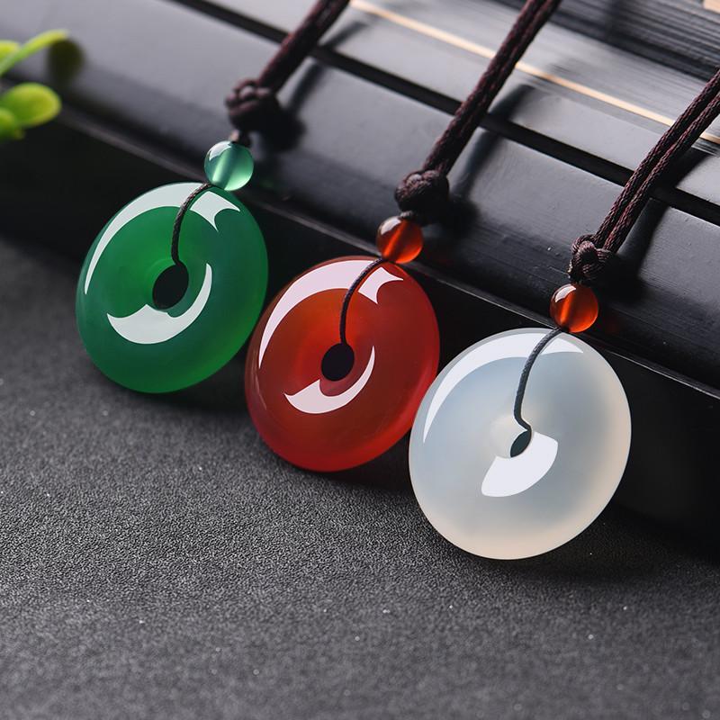 Natürliche Mehrfarbenjade-Donut-Anhänger Achat-Halskette