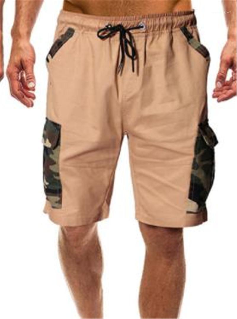 Calças Casual soltos camuflagem Cordão Calças regular multi bolso Trabalho calças masculinas Vestuário Fashion Designer Curto Carga