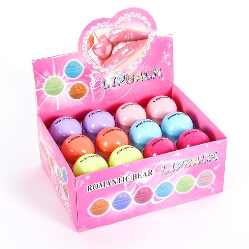 24X / lot Frucht-Aroma-Lipbalm Romantische Bär maquiagem Lippenbalsam nette runde Kugel rein natürlichen pflanzlichen Baby-Lippen Feuchtigkeitspflege