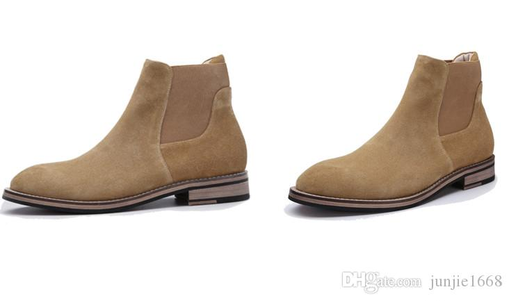 Spring European and American men a pedal Chelsea boots matte suede high-top shoes British tide Martin hair stylist boots