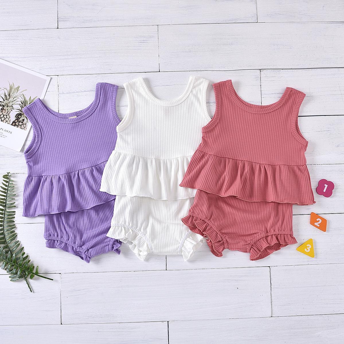 طفل طفلة الصبي مجموعة ملابس الصيف سترة بلا أكمام بلايز الزي السراويل 2PCS عطلة الأطفال