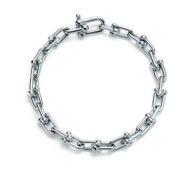 하드웨어 Tiffs 스털링 실버 925 원래 로고 고전 인기 우아한 패션 아름다운 U 자형 여성 T 체인 팔찌 보석 사랑의 선물