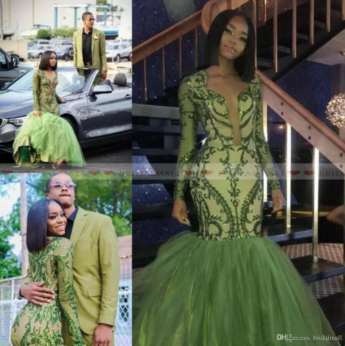 Vestido Verde-Escuro De Sereia Africana Vestidos De Baile Saias Inchadas Appliques Lantejoulas Raparigas Negras Vestido Formal De Noite V Pescoço Mangas Compridas Vestido De Recepção
