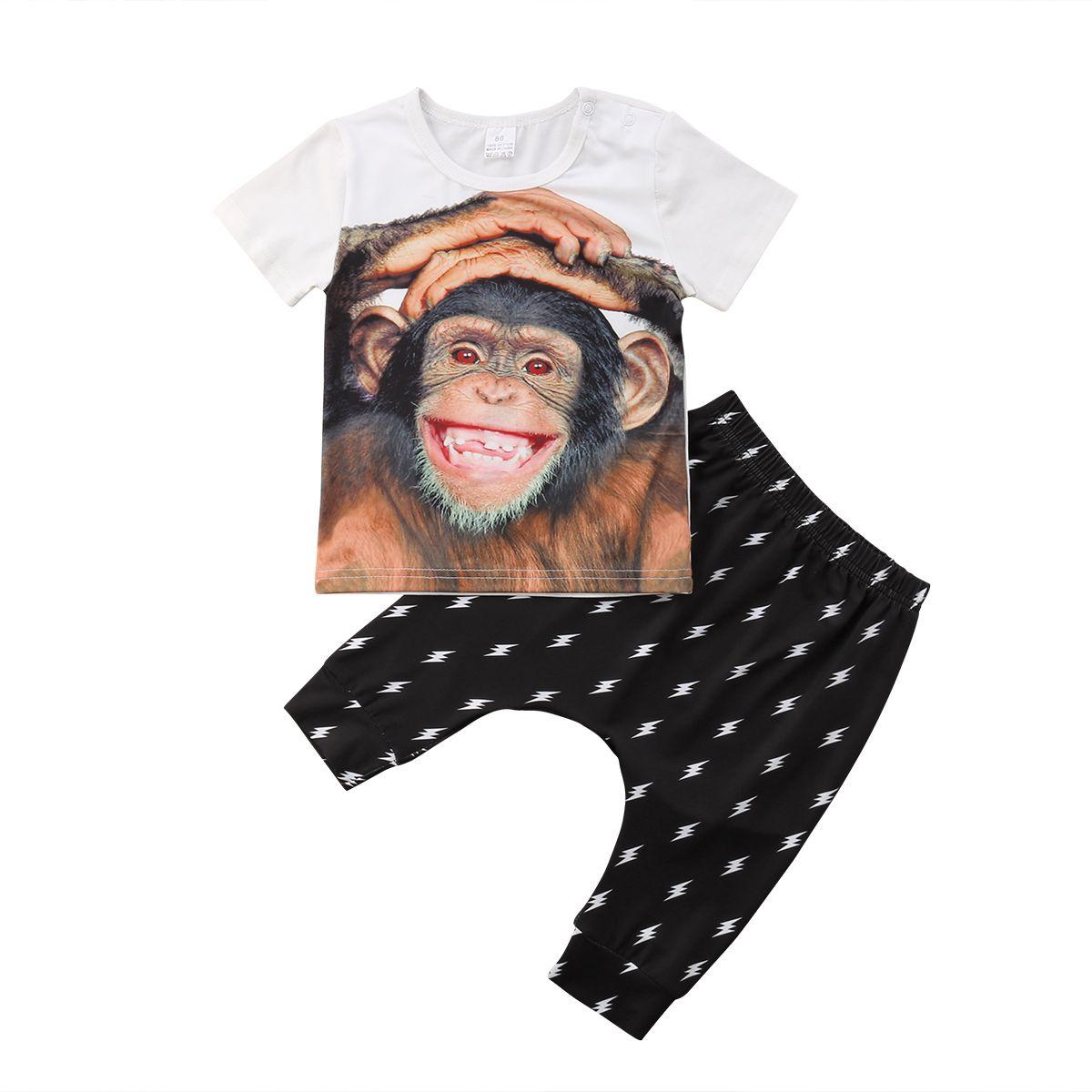 ملابس الطفل 2PCS طفل أطفال الطفل الأولاد ملابس Pritn القرد تي شيرت بلايز + سروال زهري تتسابق مجموعة 1-5T
