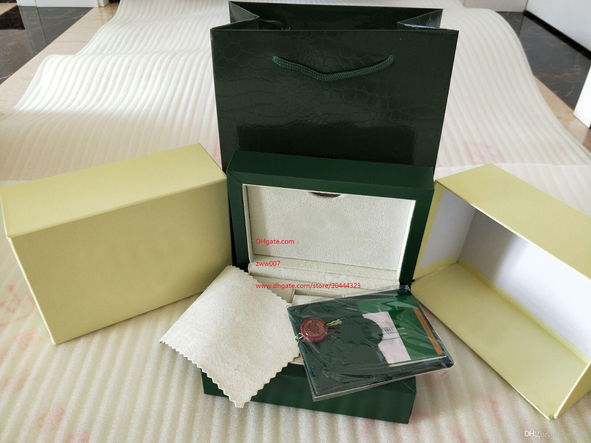 Бесплатная доставка завод поставщик зеленые часы оригинальная коробка бумаги карты кошелек подарочные коробки сумочка 185 мм*134 мм*84 мм 116610 116660 116710 часы