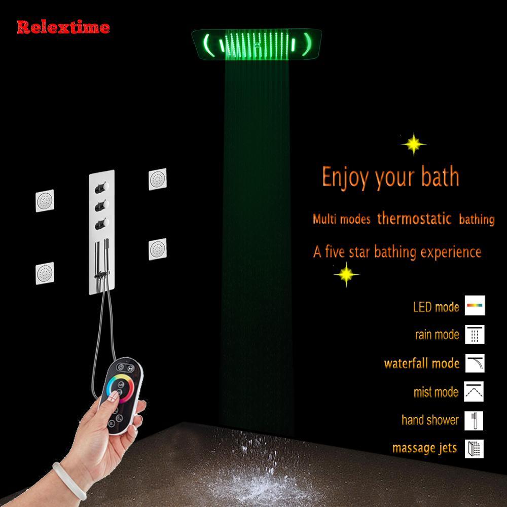 욕실 온도 조절 샤워 세트 패널 마사지 제트 혼합 밸브 수도꼭지 노즐 발광 LED 럭셔리 샤워 헤드 폭포 비 미스트 단위 스프레이
