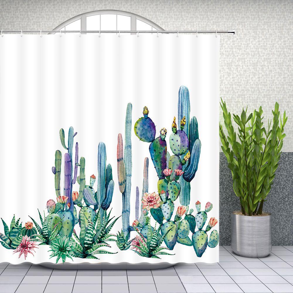 Watercolor Succulents Cactus Shower Curtain Waterproof Fabric Bathroom w// Hooks