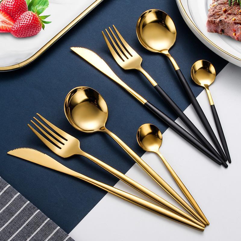 24pcs oro Dinnerware Set Acciaio Inox 18/10 Posate Stoviglie Coltello Forchetta Cucchiaio Cena Servizio posate in lavastoviglie Y200610