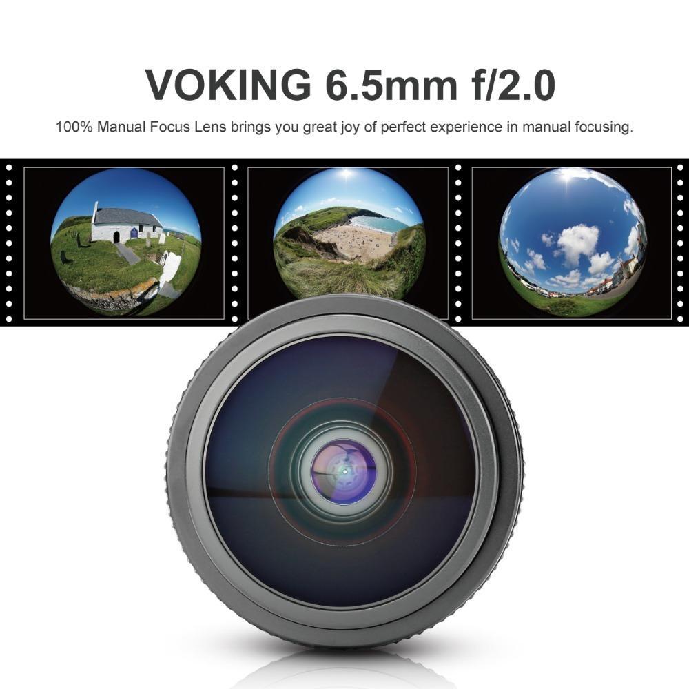 VK 6.5mm f/2.0 Ultra Wide Manual Fisheye Lens for Panasonic Olympus Micro Four Thirds Mirrorless Cameras+GIFT