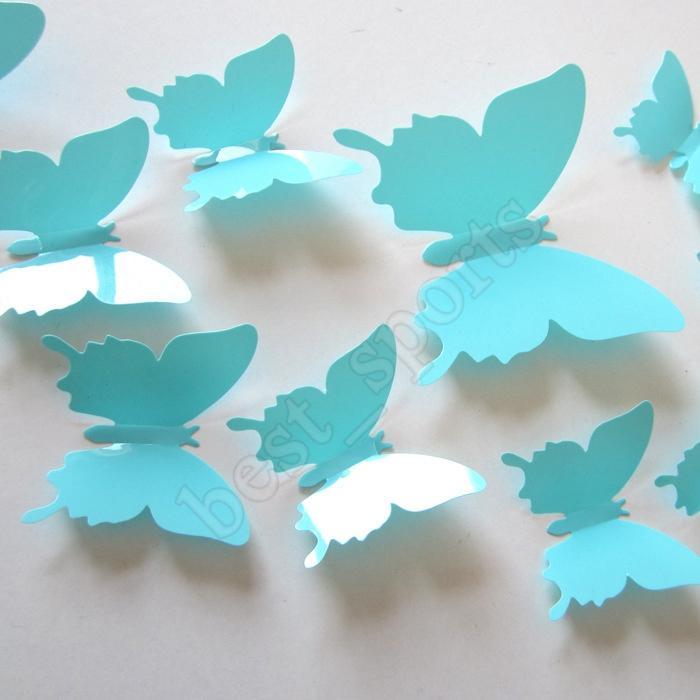 벽 창 파티를위한 12PCS / 많은 PVC DIY 벽 스티커 새로운 3D 미러 나비 스티커 ZZA1383 공급