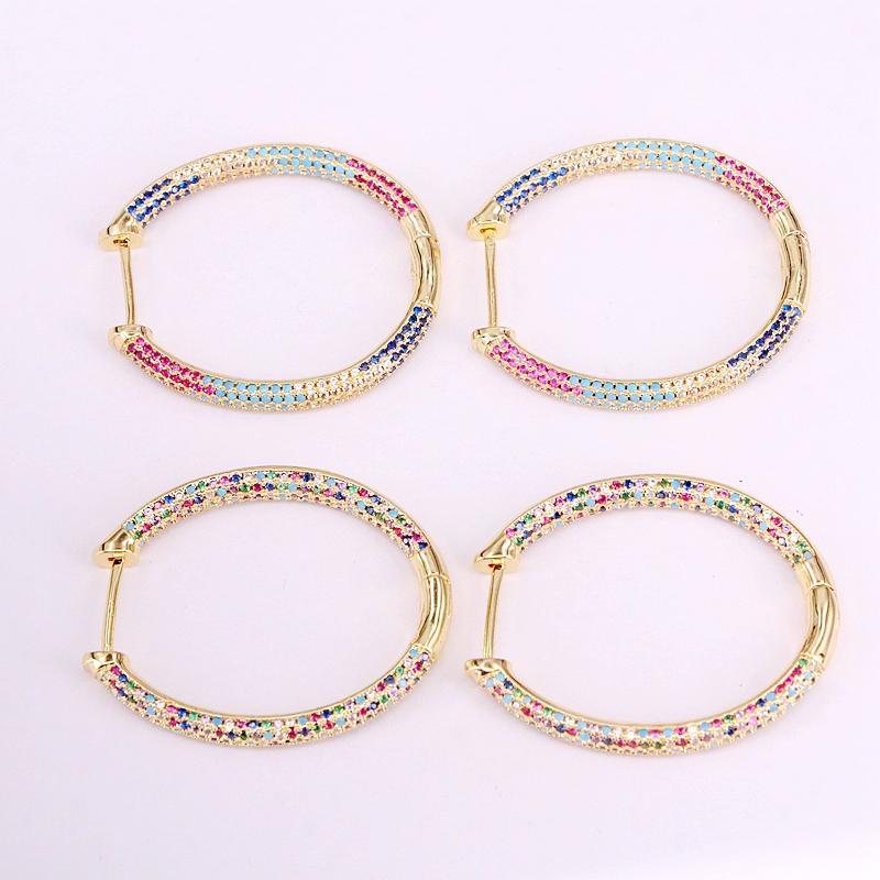 4pairs, Micro Pave CZ Couleur Or Femme Big Hoop bijoux à la mode arc-en-zircons ovale en forme colorée CZ cristal Boucles d'oreilles