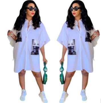 Designer Loose White Shirt Dress Women Casual Dress Half Sleeve Print Character Button Shirt Dress
