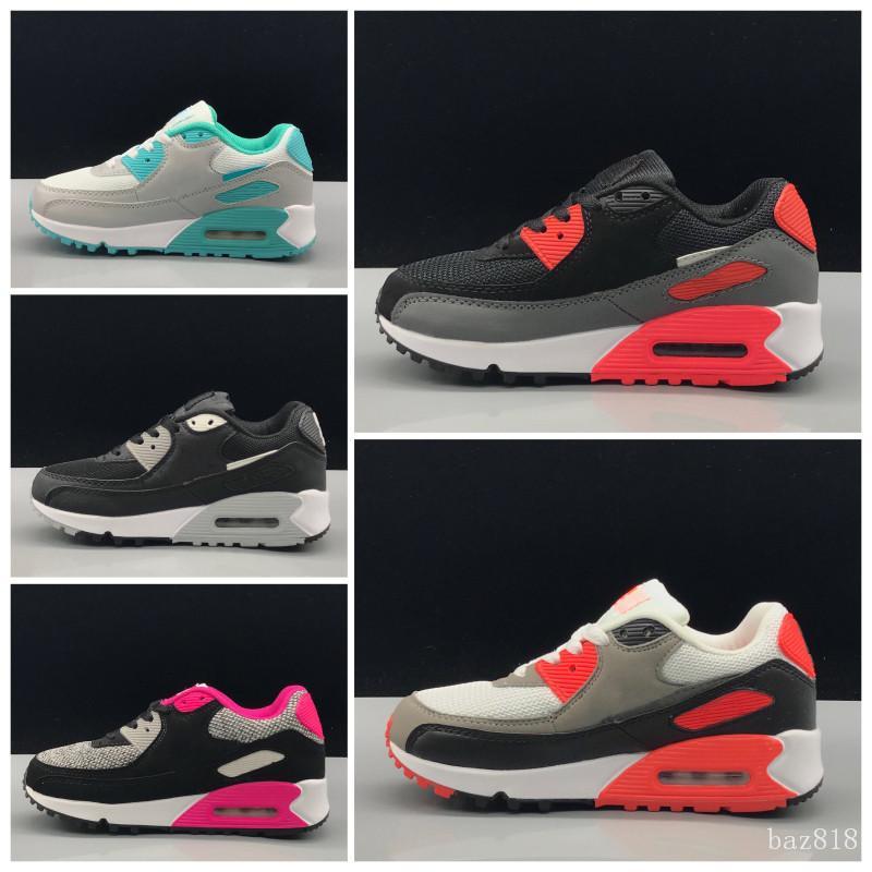 Nike air max 90 2020 Primavera Crianças Outono Sapatos Vermelho Rosa respirável Preto confortáveis caçoa as sapatilhas dos meninos meninas da criança Sapatas de bebê Eur 22-35