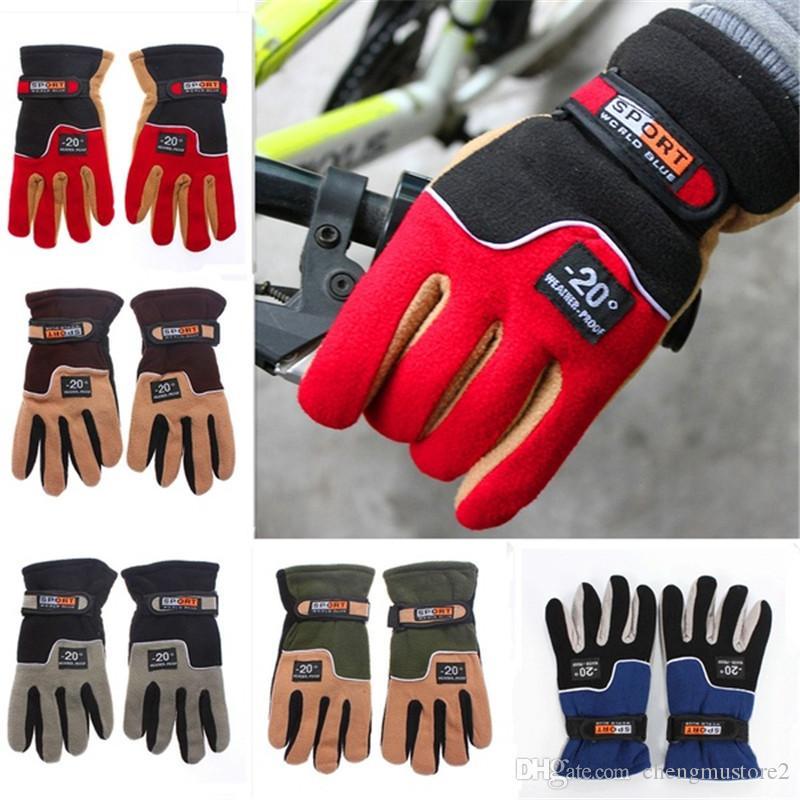 Hot Outdoor chaud tenue polaire gants moto plein doigts vélo électrique coupe-vent et gants de vélo de preuve froid