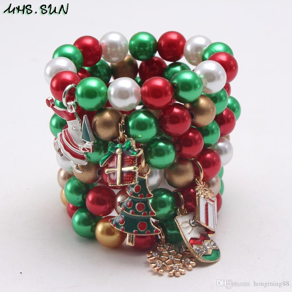 Récent charme de Noël de gros pendentif Kid Fashion Bracelet perles imitation Kid Bracelet Enfant Fille Bracelet Bijoux