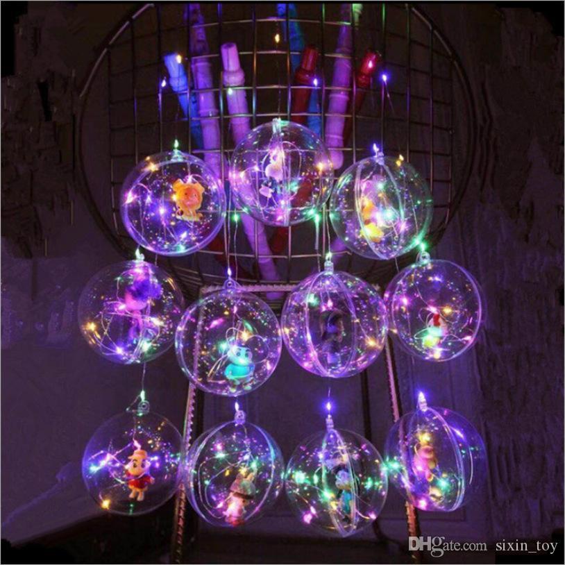 50PCS Flashing Bobo Ball Flash Light Handle Christmas Elves Xmas Tree Ball Creative LED Light Colorful Lanterns with Cartoon Figures