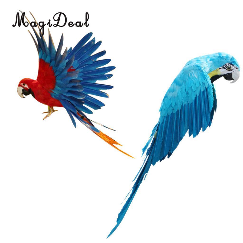 Artificial Bird Feather Réaliste Maison Jardin Décoration Ornement perroquet bleu
