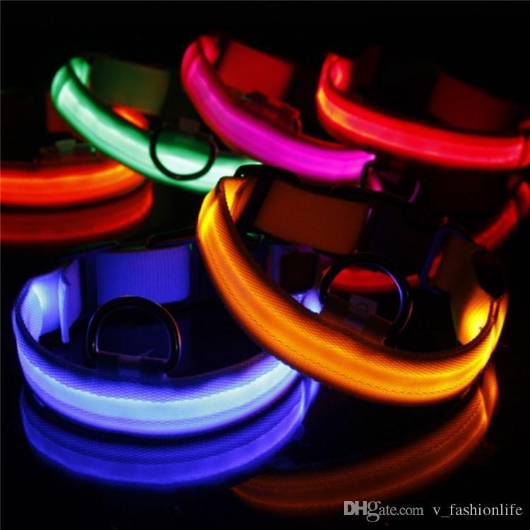 2020 USB Cable LED Nylon Dog Collar Dog Cat Harness Flashing Light Up Night Safety Pet Collars multi color XS-XL Size Christmas