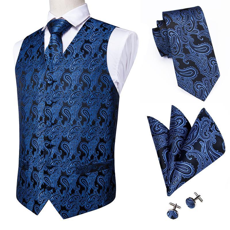 Hi-Tie 20 Color de seda de los hombres casual chalecos y corbata de visita delgada del chaleco 4PZA Hanky gemelos conjunto de chaleco de traje azul de Paisley chalecos CX200623