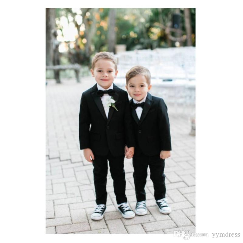 New Arrival Black Boy Tuxedos One Button Notched Lapel Children Suit Kid Prom Suits Ring Bearer Suits (Jacket+Pants+Bow )