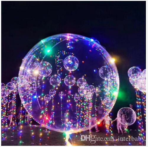LED Balloons Night Light Up Toys Clear Balloon 3M String Lights Flasher Transparent Bobo Balls Balloon Xmas Wedding Party Decoration TLYP509