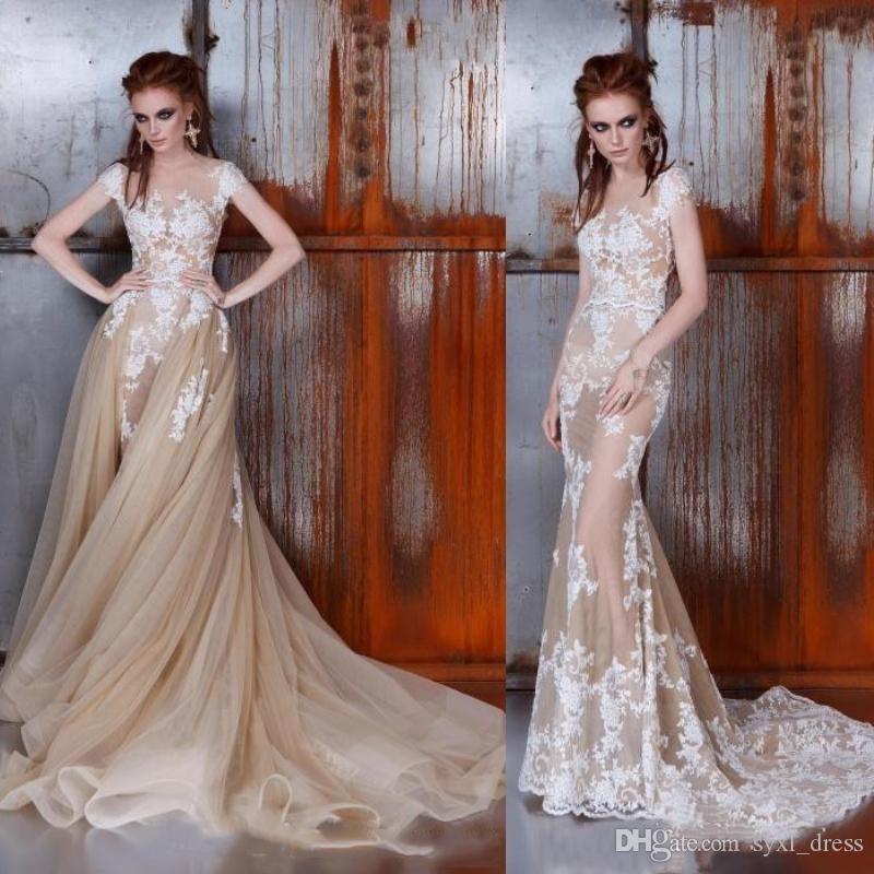 Дешевые Плюс Размер Готическое шампанское кружево русалки свадебные платья с съемным поездом свадебные платья 2019 Robe de Mariee Abito Tulle ruffles