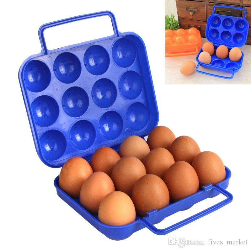 6Pcs Plastic Double Side Egg Tray Storage Box Egg Holder Egg Storage Container,with Lid and Handle Blue