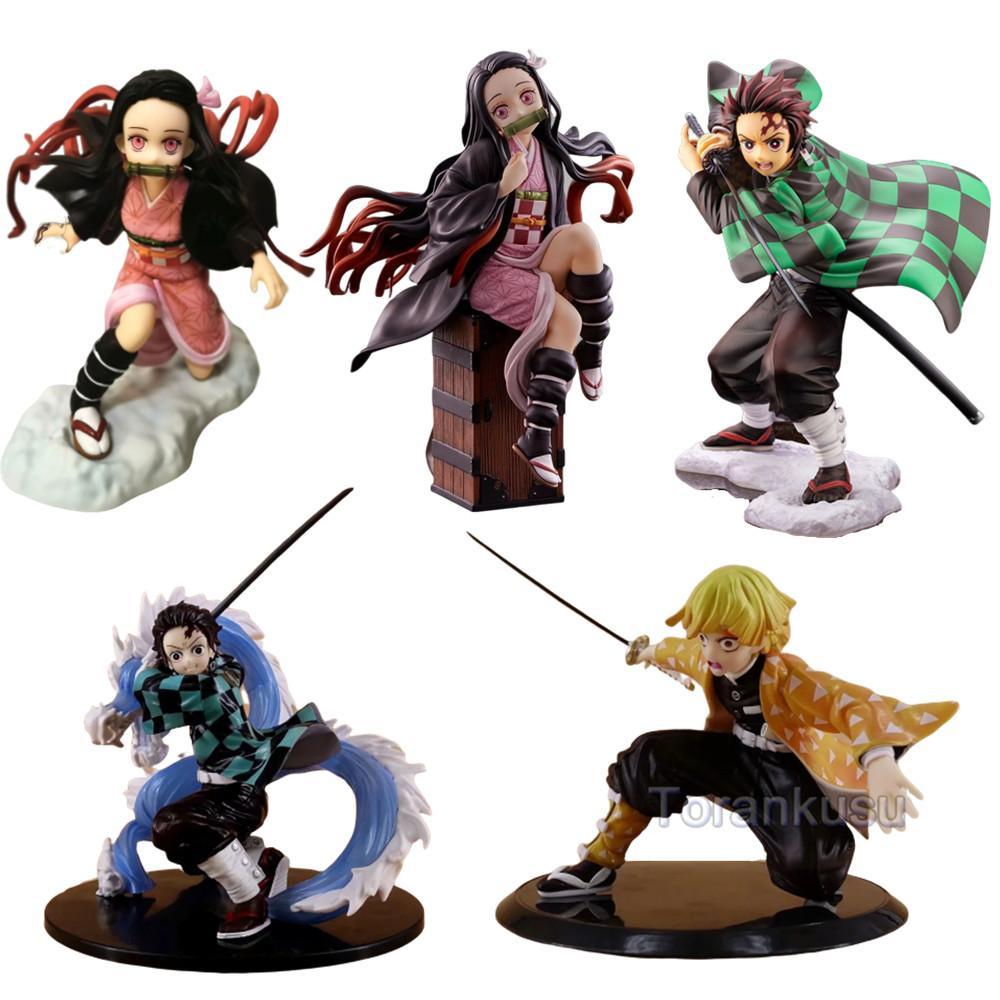 Kimetsu aucune action Yaiba Figure Kamado Tanjirou Nezuko Zenitsu Démon Slayer Figma Hot Toys PVC Anime Figurine Doll Changer le Modèle T200609