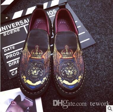 zapatos de lona ocasionales de los hombres calientes de la venta zapatos planos león macho de impresión de ocio zapatillas de deporte respirables sin zapatos de los hombres de la vendimia de encaje