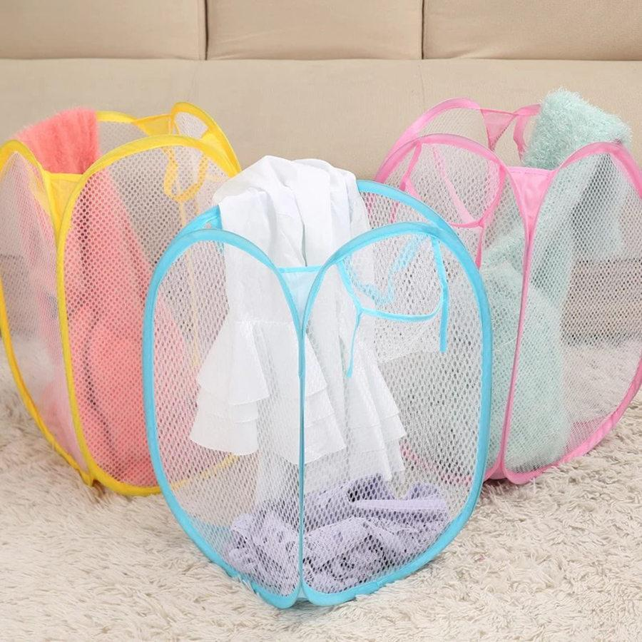 Foldable Mesh Laundry Basket Clothes Storage Supplies Pop Up Washing Clothes Laundry Basket Bin Hamper Mesh Storage Bags RRA1824