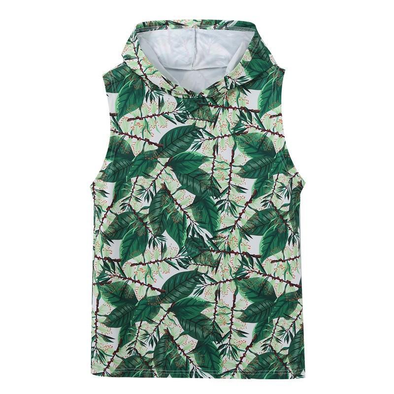 Лето 2020 NEW-Womens без рукавов набивная ткань жилет толстовка с капюшоном 16 цветов размер S-3XL стиль номер 8208
