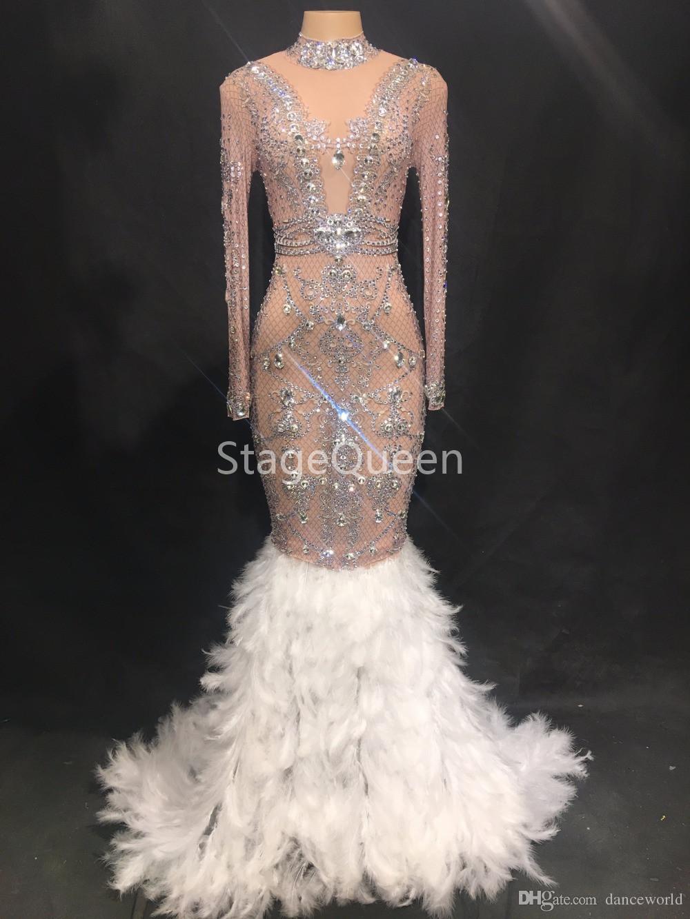 Mujeres Sexy Etapa Cristales brillantes Ver a través de malla Vestido de plumas Cumpleaños Celebre Piedras Vestido Flecos Vestido de baile DS Traje de DJ