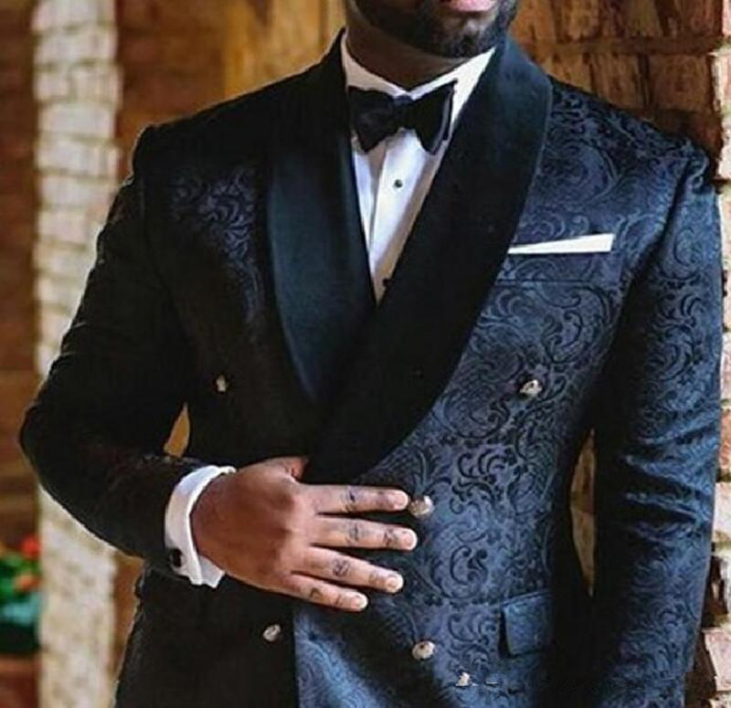 New Navy Blue embroidery Wedding Mens Suits Double Breasted Custom Slim Fit Groom Tuxedos Shawl Lapel Two Piece Jacket Pants Male Blazer 820