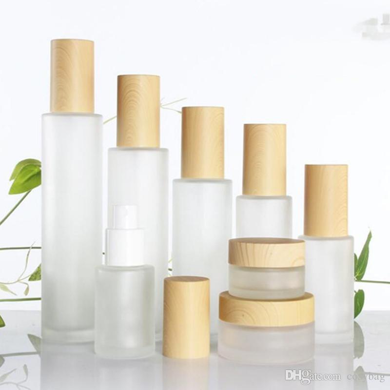 30ML / 40ML / 60ML / 80ML / 100ML متجمد الزجاج مستحضرات التجميل كريم جرة زجاجة كريم الوجه وعاء غسول مضخة زجاجة مع البلاستيك تقليد اغطية الخيزران