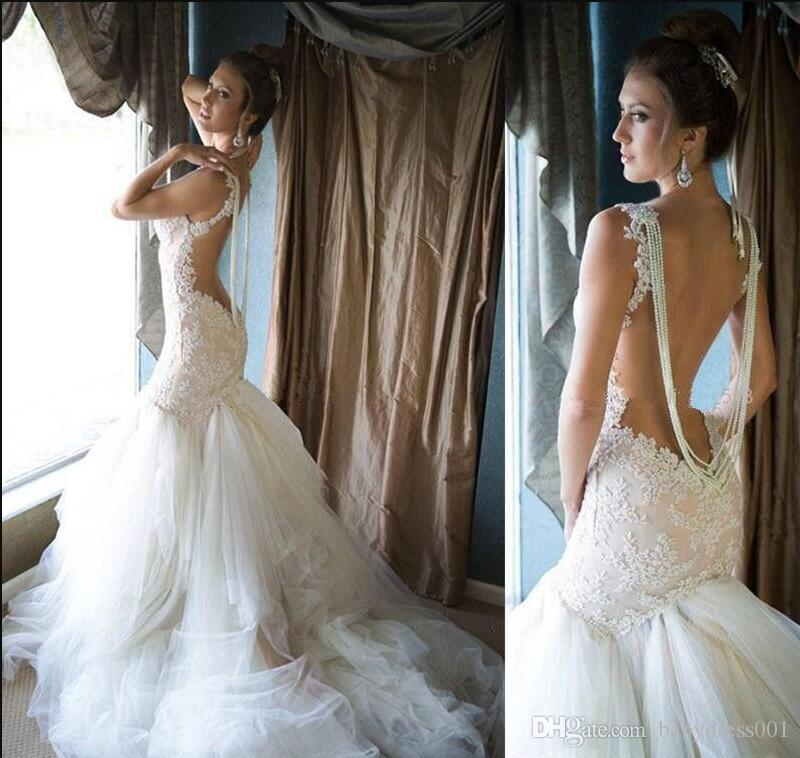 2019 Lace Appliqued Mermaid Wedding Dresses sweetheart Open Back Tiered Layered Tulle Bridal Gown Court Train Plus Size Wedding Gowns