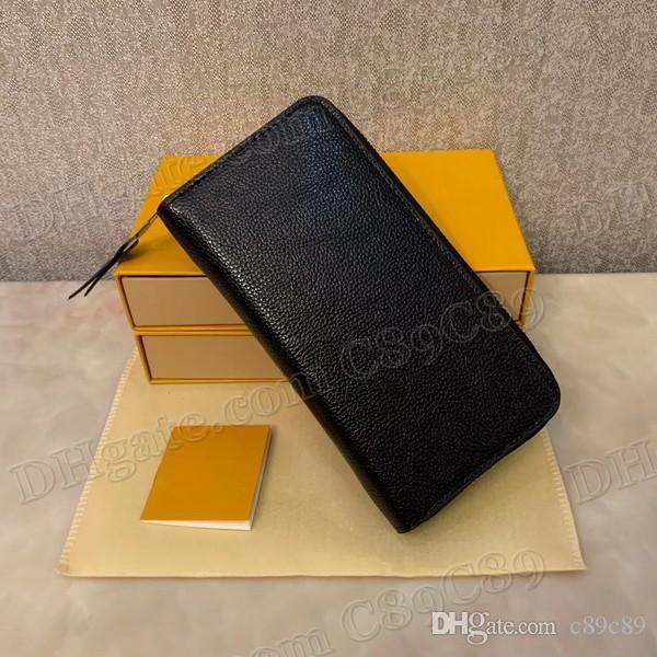 Hot Sale ZIPPER EMBOSSED WALLET 3 Colors Top Quality Single Zipper Designer Men Women Leather Wallet Lady Ladies Long Purse With Box