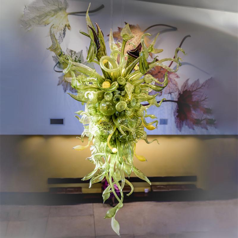 Artistic Hotel Large Nepenthes Chandelier Indoor Miscellaneous Hand Blown Glass Foliage Chandelier for Entrance Halls Reception Areas