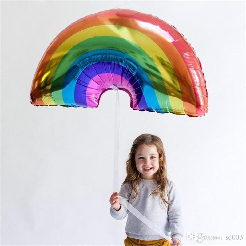 Rainbow Inflation Balloon Child Birthday Party Helium Airballoon Aluminum Film 93x59cm Large Size Automatic Sealing Popular 2 1sl C1