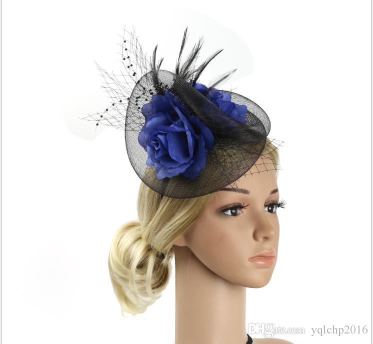 Feather Headdress Bride's Head Flower Mesh Hair Decoration Party Madam's Hat for Hemp Yarn Headdress Party
