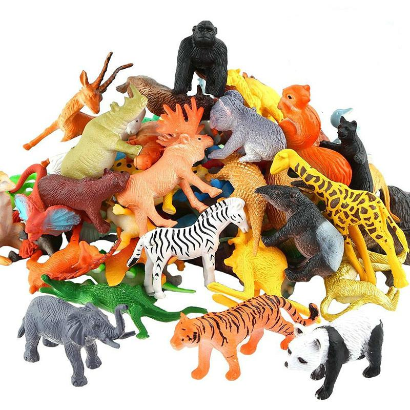 53pcs / set Animal Simulación Mini Animal Zoo World Modelo figura de acción de juguete Conjunto de dibujos animados precioso Plásticos Colección de juguetes para niños CJ191213