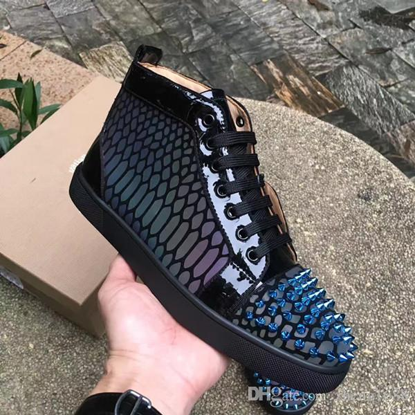 Yeni Lüks Moda 19 S Sezon Yok Limixx Kırmızı Alt Sneakers Düz Mix Çiviler Rhinestones Kutusu Ile Mükemmel Patent Çizgili Parti Gelinlik
