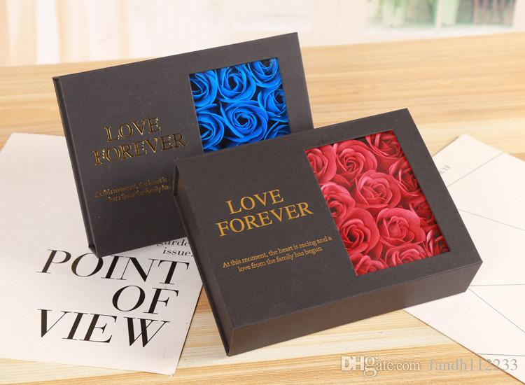 هدية عيد الحب 12PCS صابون الورد زهرة مجوهرات علبة هدية الحب للأبد اليدوية الاصطناعي الصابون زهرة رومانسي فتاة هدية