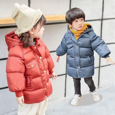 Los niños del diseñador de Down Jacket Niños y Niñas Medio y la Sección largos de la capa del bebé gruesa chaqueta con capucha caliente de la capa sólida de color abajo Manteniendo 2019 Winte