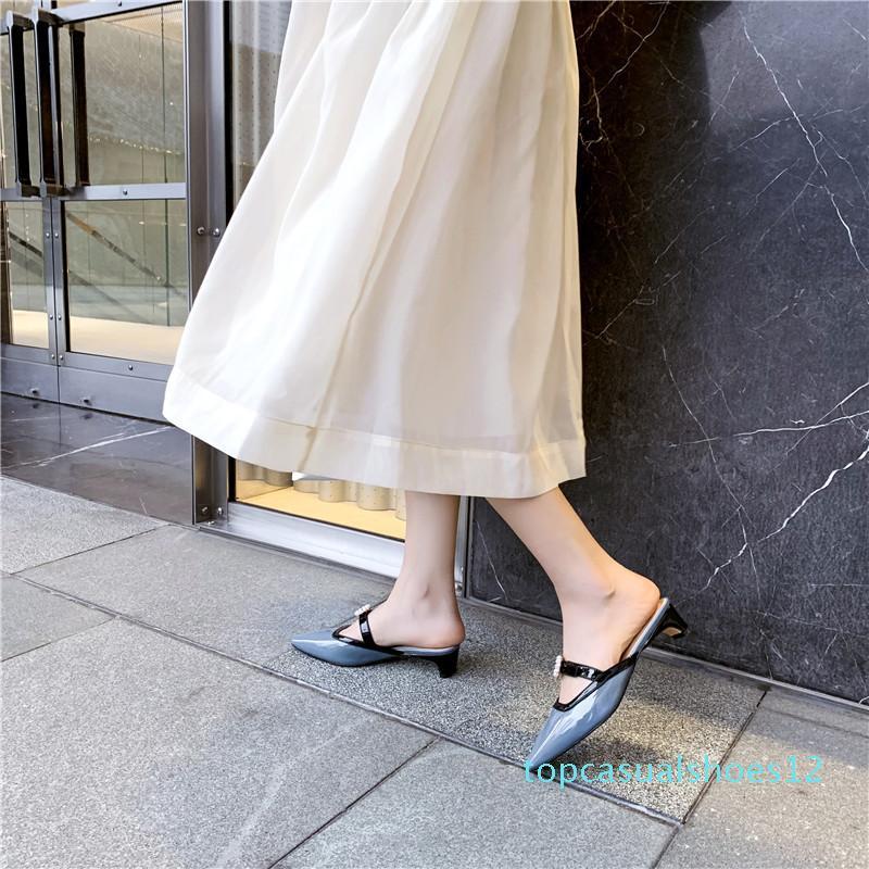 VERCONAS 2020 Женские сандалии высокое качество малыш замша женщина насосы металлические украшения круглый носок квадратные каблуки / Высокие каблуки обувь t12