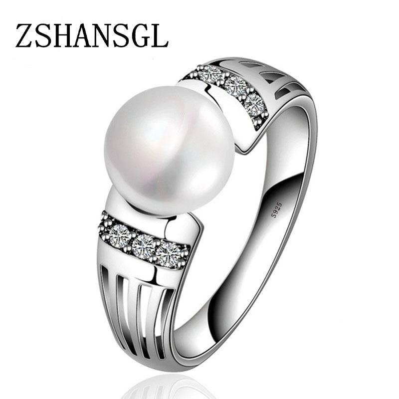 New Collection 925 Silver Rings Big CZ & FreshWater Pearl Rings for Women Wedding Valentine's Day Jewelry Gift