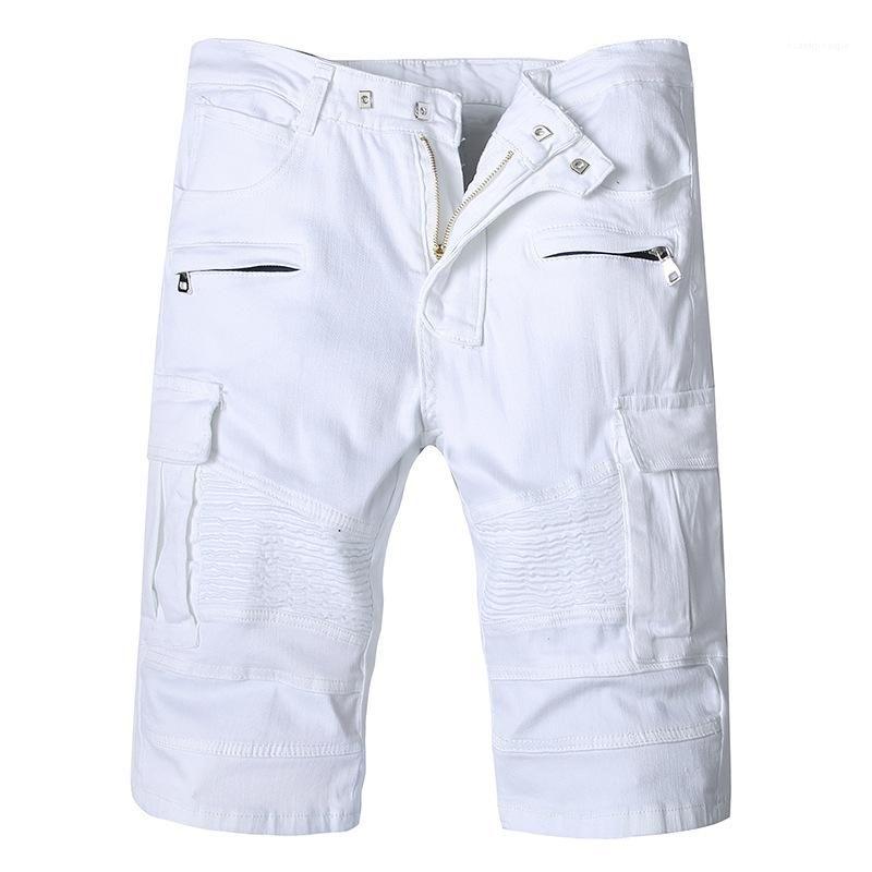 Pantolon Erkek Tasarımcı Cep Beyaz Jeans Diz Boyu Sokak Kot Pantolon Düz Orta Bel Fermuar Fly