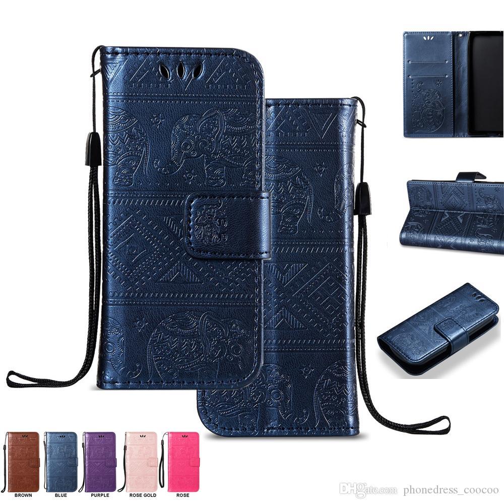 Étuis de portefeuille pour téléphone portable Elephant Lovely Support en cuir PU avec dragonne argentée à la carte (198 modèles)
