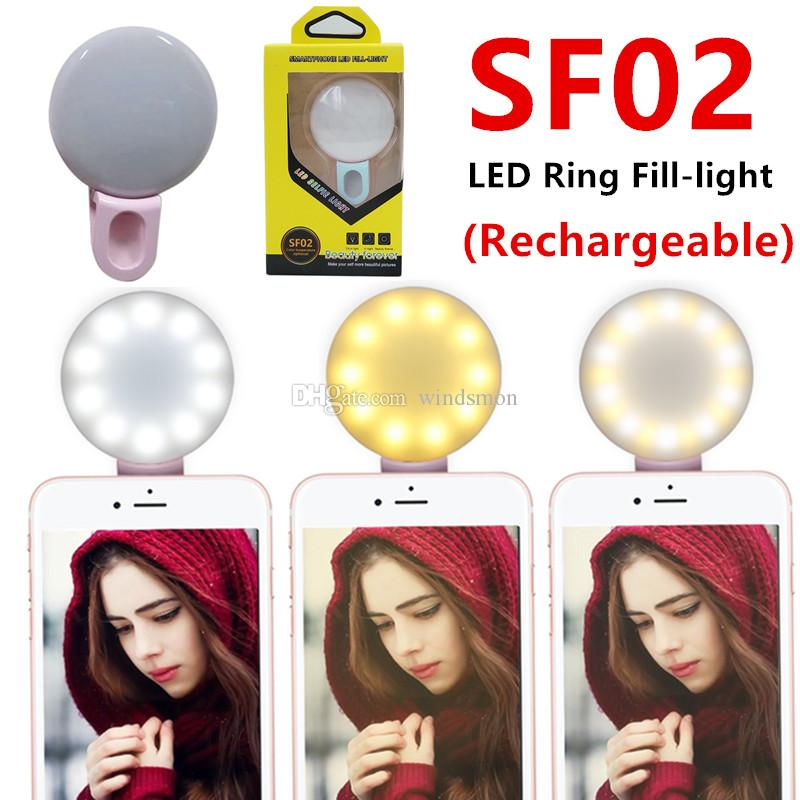 SF02 Rechargeable Universal LED Selfie Light Ring Light Flash Lamp Selfie Ring Lighting Camera Photography For All Smartphones